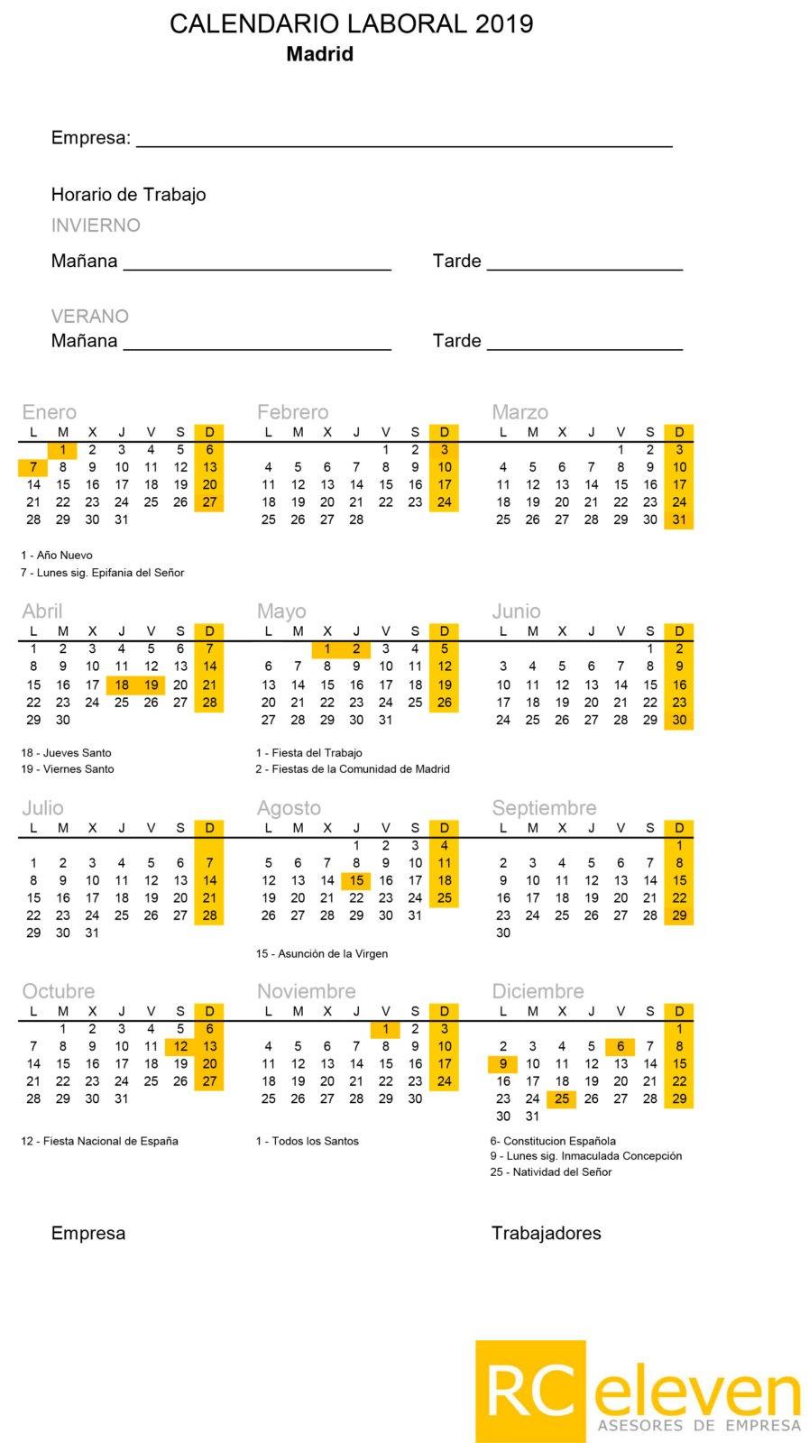 Calendario Laboral Espana 2019.Calendario Laboral 2019 Rc Eleven Rc Eleven