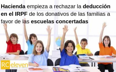 Hacienda empieza a rechazar la deducción en el IRPF de los donativos de las familias a favor de las escuelas concertadas