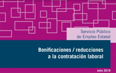Bonificaciones / reducciones a la contratación laboral – Julio 2019