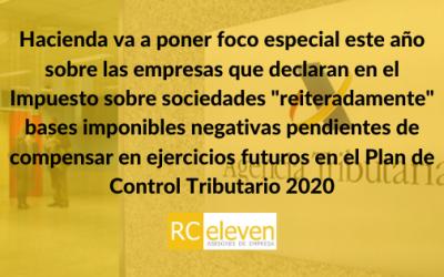 """Hacienda va a poner foco especial este año sobre las empresas que declaran en el Impuesto sobre sociedades """"reiteradamente"""" bases imponibles negativas pendientes de compensar en ejercicios futuros en el Plan de Control Tributario 2020"""