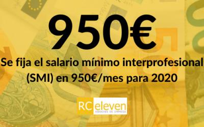 Se fija el salario mínimo interprofesional (SMI) en 950€/mes para 2020